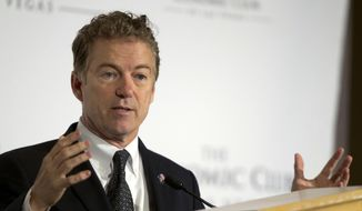 Kentucky Sen. Rand Paul, Republican candidate for president, speaks during a meeting of the Economic Club of Las Vegas at Caesars Palace in Las Vegas on Wednesday, Dec. 16, 2015. (Steve Marcus/Las Vegas Sun via AP) ** FILE **