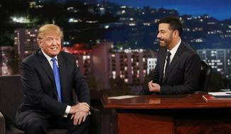 """This photo provided by ABC shows guest Republican Presidential candidate Donald Trump, left, with host Jimmy Kimmel, on """"Jimmy Kimmel Live"""" on Wednesday, Dec. 16, 2015, in Los Angeles. The ABC show airs every weeknight, 11:35 p.m. - 12:41 a.m., ET. (Randy Holmes/ABC via AP)"""