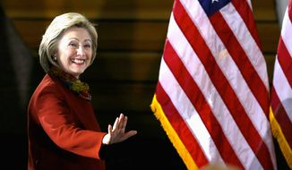 Hillary Clinton at a campaign stop this week; the Democratic frontrunner continues to dominate the polls, say the 'Hillary Meter.' (Associated Press)
