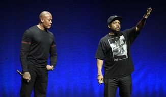 "FILE - In the April 23, 2015, file photo, N.W.A. members Dr. Dre, left, and Ice Cube, two of the subjects of the upcoming biographical drama ""Straight Outta Compton,"" appear onstage to promote the film at the Universal Pictures presentation during CinemaCon 2015 at Caesars Palace in Las Vegas. Los Angeles rap act N.W.A. joins a quartet of 1970s era FM radio rockers as inductees in the 2016 class at the Rock and Roll Hall of Fame. The rock hall announced Thursday, Dec. 17, 2015, that Chicago, Cheap Trick, Deep Purple and Steve Miller will join as members in an April 8 induction ceremony in Brooklyn. (Photo by Chris Pizzello/Invision/AP, File)"