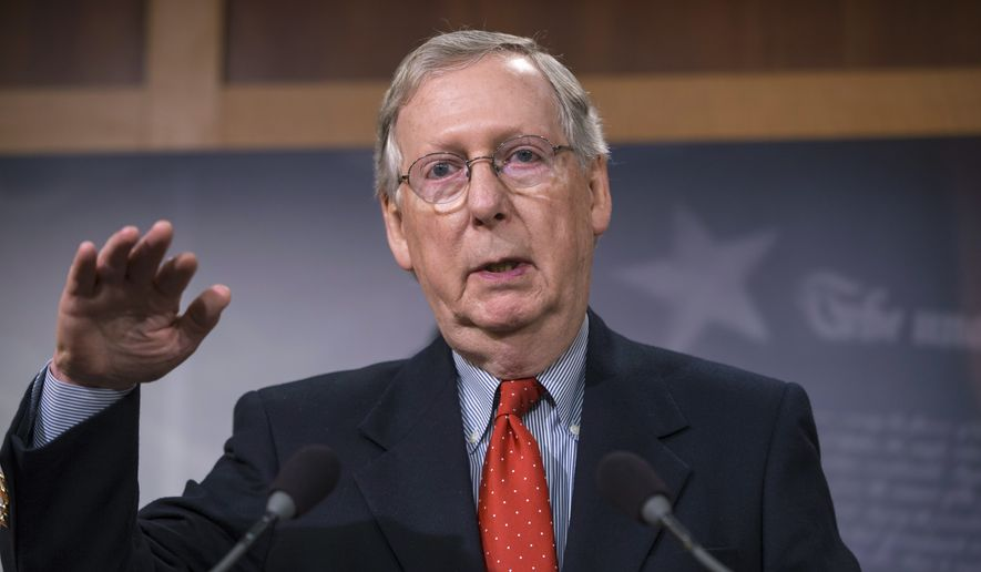 Senate Majority Leader Mitch McConnell, R-Ky., speaks with reporters after the Senate gave sweeping approval to a year-end budget package that boosts federal agency spending and awards tax cuts to both families and an array of business interests, at the Capitol in Washington, Friday, Dec. 18, 2015.  (AP Photo/J. Scott Applewhite) ** FILE **