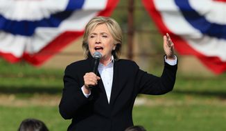Democratic presidential candidate Hillary Rodham Clinton speaks during a campaign stop at the Westfair Amphitheater in Council Bluffs, Iowa, in this Oct. 7, 2015, file photo. (AP Photo/Nati Harnik, File)