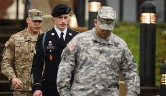 U.S. Army Sgt. Bowe Bergdahl leaves the courthouse Tuesday, Dec. 22, 2015, after his arraignment hearing at Fort Bragg, N.C. (Andrew Craft /The Fayetteville Observer via AP) ** FILE **