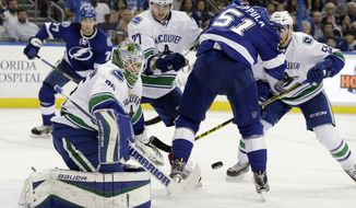 Vancouver Canucks goalie Jacob Markstrom (25), of Sweden, makes a save on a deflection by Tampa Bay Lightning center Valtteri Filppula (51), of Finland, during the second period of an NHL hockey game Tuesday, Dec. 22, 2015, in Tampa, Fla. (AP Photo/Chris O'Meara)