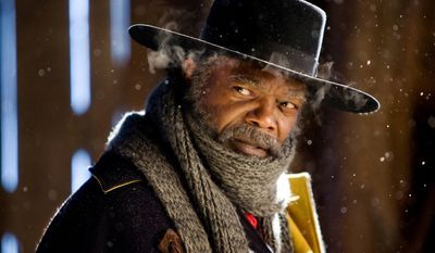 """This image released by The Weinstein Company shows Samuel L. Jackson in a scene from """"The Hateful Eight."""" The movie opens in U.S. theaters on Jan. 1, 2016.  (Andrew Cooper/The Weinstein Company via AP)"""