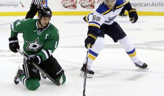 St. Louis Blues left wing Magnus Paajarvi (56) and Dallas Stars left wing Jamie Benn (14) chase the puck during the first period of an NHL hockey game Sunday, Dec. 27, 2015, in Dallas. (AP Photo/LM Otero)
