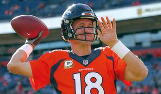 Denver Broncos quarterback Peyton Manning (18) warms up prior to an NFL preseason football game against the Kansas City Chiefs, Sunday, Nov. 15, 2015, in Denver. (AP Photo/Jack Dempsey)