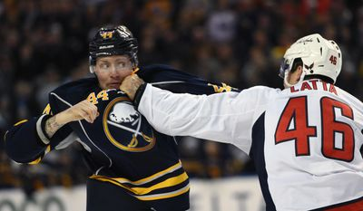 Buffalo Sabres left winger Nicolas Deslauriers (44) eyes Washington Capitals center Michael Latta (46) during a fight in the second period of an NHL hockey game, Monday Dec. 28, 2015 in Buffalo, N.Y. (AP Photo/Gary Wiepert)
