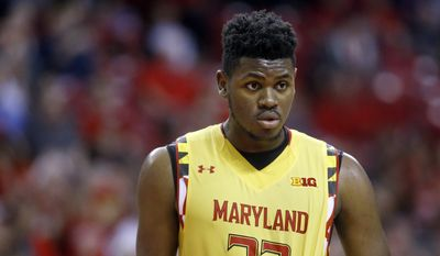 Maryland center Diamond Stone stands on the court in the second half of an NCAA college basketball gameagainst Maryland Eastern Shore, Saturday, Dec. 12, 2015, in College Park, Md. (AP Photo/Patrick Semansky)