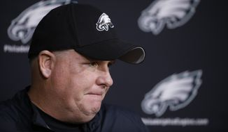 Philadelphia Eagles head coach Chip Kelly listens to a question during a news conference at the team's practice facility Monday in Philadelphia. (Associated Press)