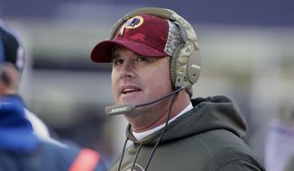 Washington Redskins head coach Jay Gruden watches action from the sideline during the first half of an NFL football game against the New England Patriots, Sunday, Nov. 8, 2015, in Foxborough, Mass. (AP Photo/Steven Senne)
