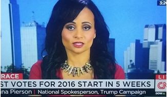 Katrina Pierson, national spokeswoman for Donald Trump's presidential campaign came under fire for wearing a bullet necklace during an appearance on CNN. (Image: Screen Grab from YouTube)