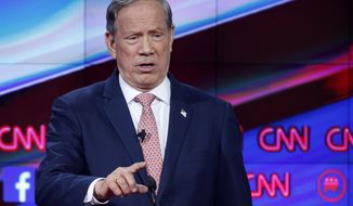 George Pataki makes a point during the CNN Republican presidential debate at the Venetian Hotel & Casino in Las Vegas on Dec. 15, 2015. (Associated Press) **FILE**