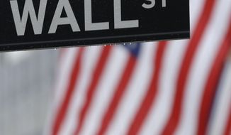 FILE - In this July 9, 2015 file photo, a Wall Street sign is seen near the New York Stock Exchange in New York. U.S. stocks moved lower on the last day of the year as the market headed for a sluggish end to 2015. (AP Photo/Seth Wenig, File)