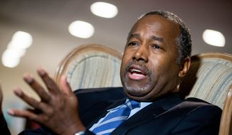 Republican presidential candidate Ben Carson speaks in his home in Upperco, Md. (AP Photo/Andrew Harnik, File)