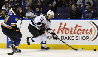 Minnesota Wild's Nino Niederreiter (22), of Switzerland, gets the puck past St. Louis Blues' Robert Bortuzzo (41) during the first period of an NHL hockey game, Thursday, Dec. 31, 2015, in St. Louis. (AP Photo/Bill Boyce)