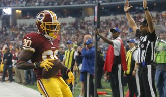 Washington Redskins wide receiver Jamison Crowder (80) runs through the end zone for a touchdown after catching a pass against the Dallas Cowboys in the first half of an NFL football game, Sunday, Jan. 3, 2016, in Arlington, Texas. (AP Photo/Michael Ainsworth)