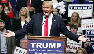 Republican presidential candidate Donald Trump speaks during a rally in Biloxi, Miss., Saturday, Jan. 2, 2016. (AP Photo/Rogelio V. Solis) **FILE**