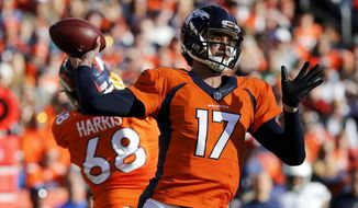 Denver Broncos quarterback Brock Osweiler throws for a touchdown against the San Diego Chargers during the first half in an NFL football game, Sunday, Jan. 3, 2016, in Denver. (AP Photo/Jack Dempsey)
