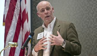 FILE - In this March 2015 file photo, technology entrepreneur Greg Gianforte speaks during the Business to Business Luncheon in Bozeman, Mont. Gubernatorial hopeful Gianforte reported income of $220.5 million and federal and state tax payments of nearly $35 million between 2005 and 2014, according to his tax returns. (Adrian Sanchez-Gonzalez/Bozeman Daily Chronicle via AP, File)