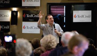 Republican presidential candidate Sen. Ted Cruz, R-Texas speaks at Charlie's Steakhouse at the Carrollton Inn in Carroll, Iowa, Monday, Jan. 4, 2016. (AP Photo/Andrew Harnik)