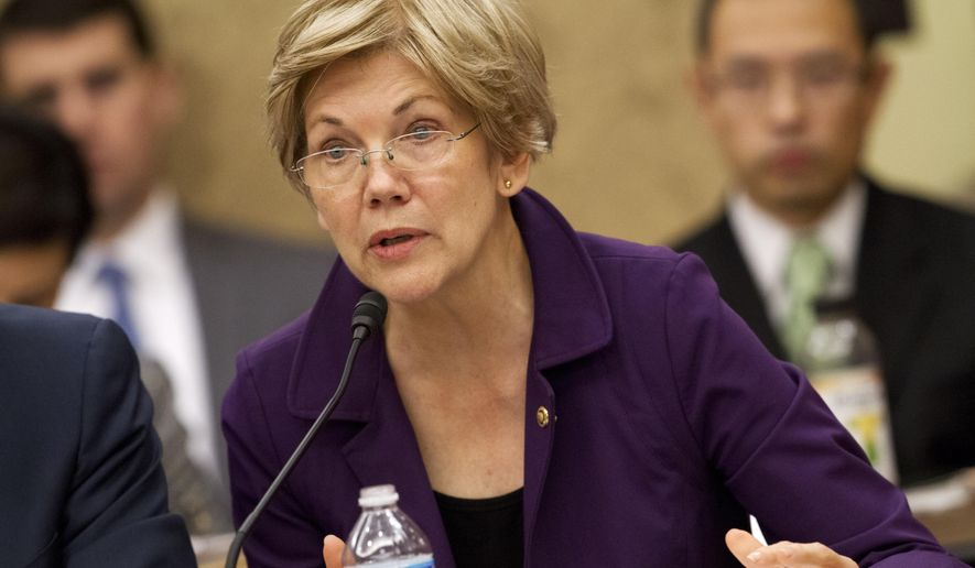 In this photo taken Nov. 18, 2015, Sen. Elizabeth Warren, D-Mass. speaks on Capitol Hill in Washington. Warren, the populist senator from Massachusetts, told The Boston Globe in September that she would likely endorse a presidential candidate during the primaries, but has since remained coy. (AP Photo/Jacquelyn Martin)