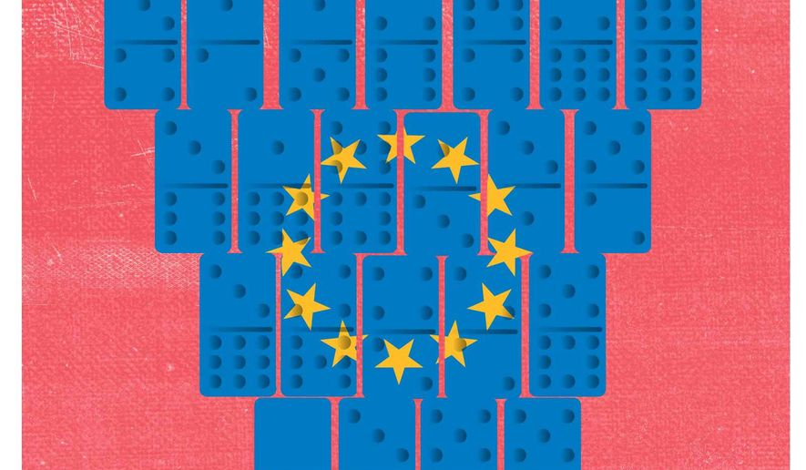 Illustration on consequences of Great Britain's withdrawal from the European Union by Linas Garsys/The Washington Times