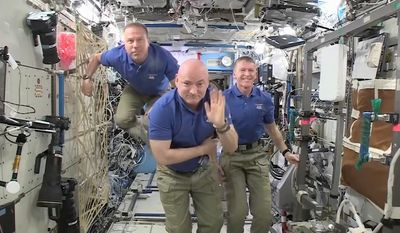 Expedition 46 Commander Scott Kelly of NASA, Flight Engineer Tim Kopra of NASA and Flight Engineer Tim Peake of the European Space Agency wished the people of Earth a Happy New Year.  Kelly is 9 months into a year-long mission, Kopra and Peake arrived Dec. 15 to begin a six-month mission.