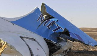 This photo released by the Prime Minister's office shows the tail of a Metrojet plane that crashed in Hassana, Egypt on Saturday, Oct. 31, 2015. (Suliman el-Oteify/Egyptian Prime Minister's Office via AP) ** FILE **