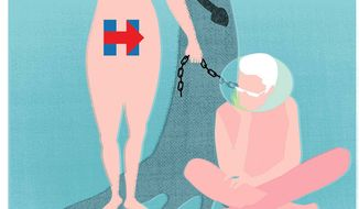 Illustration on the Clintons' sexual history as a political issue by Linas Garsys/The Washington Times