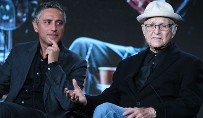 """Reza Azlan, left, and Norman Lear speak onstage during the """"Rough Draft with Reza Aslan"""" panel at the Ovation 2016 Winter TCA on Tuesday, Jan. 5, 2016, in Pasadena, Calif. (Photo by Richard Shotwell/Invision/AP)"""