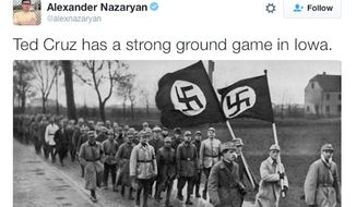 Newsweek has issued an apology after senior writer Alexander Nazaryan compared Republican presidential candidate Ted Cruz and his supporters to Nazis. (Twitter/@Alexander Nazaryan)