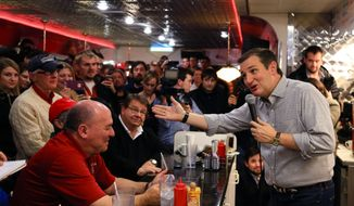 Republican Presidential candidate, Sen. Ted Cruz, R-Texas, campaigns at Penny's Diner in Missouri Valley, Iowa, in this Jan. 4, 2016, file photo. (AP Photo/Nati Harnik, File)