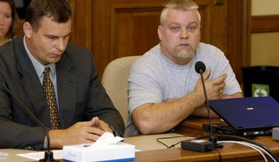 """This image released by Netflix shows Steven Avery, right, in the Netflix original documentary series """"Making A Murderer."""" An online petition has collected hundreds of thousands of digital signatures seeking a pardon for a pair of convicted killers-turned-social media sensations based on the Netflix documentary series that cast doubt on the legal process. (Netflix via AP)"""