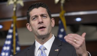House Speaker Paul Ryan of Wis. talks to reporters on Capitol Hill in Washington, Thursday, Jan. 7, 2016, about his 2016 agenda. (AP Photo/J. Scott Applewhite) ** FILE **