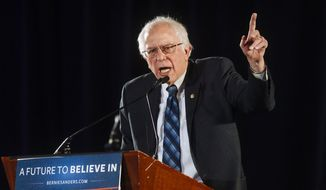 Democratic presidential candidate Sen. Bernie Sanders, I-Vt., speaks during a campaign event, at the Tropicana Hotel in Las Vegas on Wednesday, Jan. 6, 2016. (Mikayla Whitmore/Las Vegas Sun via AP)