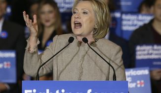 Democratic presidential hopeful former Secretary of State Hillary Clinton speaks in San Gabriel, Calif., in this Jan. 7, 2016, file photo. The State Department released Friday another 3,000 pages of emails from former Secretary of State Hillary Clinton's private email account, missing a court-ordered goal for their production by a week. (AP Photo/Damian Dovarganes, File)