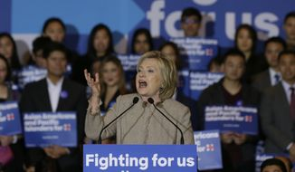 Democratic presidential hopeful former Secretary of State Hillary Clinton addresses Asian American and Pacific Islander supporters in San Gabriel, Calif., on Thursday, Jan. 7, 2016. Asian Americans have received relatively scant attention in the Republican and Democratic primaries. (AP Photo/Damian Dovarganes)