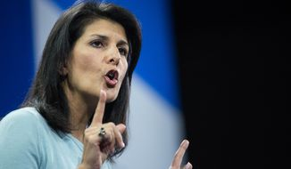 South Carolina Gov. Nikki Haley speaks to the crowd at the Kemp Forum, Saturday, Jan. 9, 2016, in Columbia, S.C.  (AP Photo/Sean Rayford)