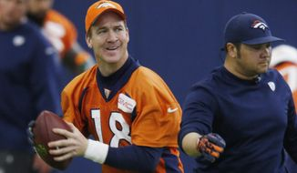 Denver Broncos quarterback Peyton Manning prepares to throw during the team's NFL football practice Friday, Jan. 8, 2016, in Englewood, Colo. (AP Photo/David Zalubowski)