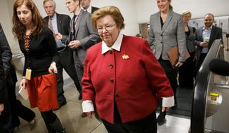 Union officials say Sen. Barbara A. Mikulski, Maryland Democrat, betrayed working-class Americans by championing a move that potentially quadruples the number of nonagricultural guest workers. (Associated Press)