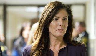 FILE - In this Tuesday, Nov. 10, 2015, file photo, Pennsylvania Attorney General Kathleen Kane departs after her preliminary hearing at the Montgomery County courthouse in Norristown, Pa. A Senate committee hearing Tuesday, Jan. 12, 2016, may lead to a vote in the chamber to remove Kane from office on grounds her suspended law license has made it impossible for her to perform the duties. Kane says she won't be there, and she's making plans to run for re-election. (AP Photo/Matt Rourke, File)