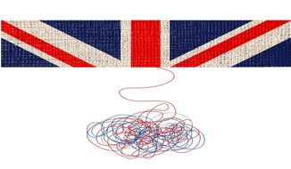 Fabric of Britain Unraveling Illustration by Greg Groesch/The Washington Times