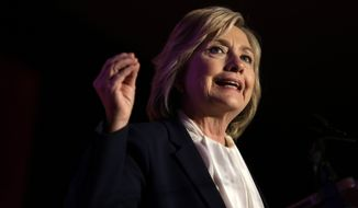 """It's the only industry in our country where we have given that kind of carte blanche to do whatever you want to do with no fear of legal consequences,"" Hillary Clinton said of the gun industry. (Associated Press)"