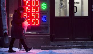 A woman walks past at an exchange office sign showing the currency exchange rates of the Russian ruble, U.S. dollar, and euro in Moscow, Russia, Monday, Jan. 11, 2016. The Russian ruble has tanked on the first day of trading after a ten-day holiday period as the price of oil continues to decline. The national currency dropped by nearly 2 percent half an hour into trading to 76.1 rubles on Monday at the Moscow stock exchange's first currency trading session since Dec. 31. (AP Photo/Alexander Zemlianichenko)