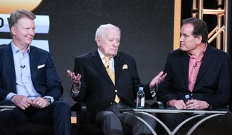 "Sportscasters Phil Simms, from left, Jack Whitaker and Jim Nantz participate in the ""CBS Sports"" panel at the CBS 2016 Winter TCA on Tuesday, Jan. 12, 2016, in Pasadena, Calif. (Photo by Richard Shotwell/In vision/AP)"