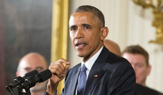 President Barack Obama speaks in the East Room of the White House in Washington. (AP Photo/Pablo Martinez Monsivais)