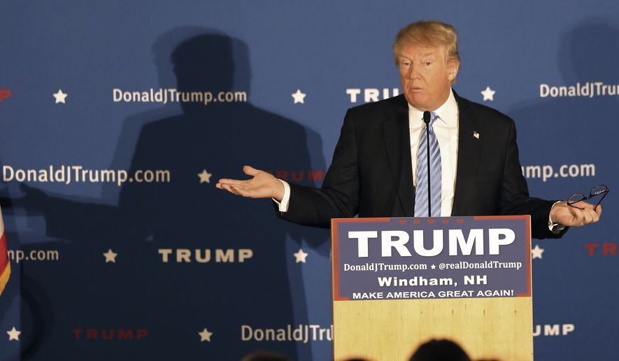 Republican presidential candidate Donald Trump speaks during a campaign stop before next months earliest in the nation presidential primary, Monday, Jan. 11, 2016, in Windham, N.H. (AP Photo/Jim Cole)