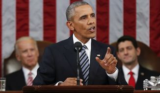 President Obama delivers his State of the Union address to a joint session of Congress on Capitol Hill on Tuesday. (Associated Press)