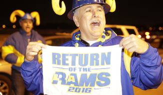 Football fans cheer for the return of the Rams to Los Angeles on the site of the old Hollywood Park horse-racing track in Inglewood, Calif., on Tuesday, Jan. 12, 2016. NFL owners voted Tuesday night to allow the St. Louis Rams to move to a new stadium at the site just outside Los Angeles, and the San Diego Chargers will have an option to share the facility. (AP Photo/Damian Dovarganes)
